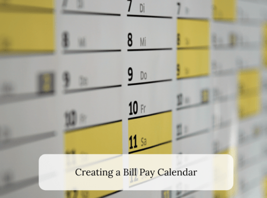 Creating a Bill Pay Calendar